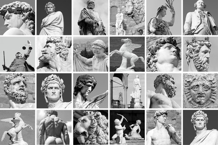 florence   italy: collage with images of sculptures from  Florence, Italy