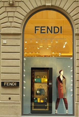 lvmh: FLORENCE, ITALY - SEP 3: FENDI boutique on famous for luxury shopping Tornabuoni street on September , 3, 2014. Fendi is a multinational luxury goods brand owned by LVMH Moet Hennessy Louis Vuitton.