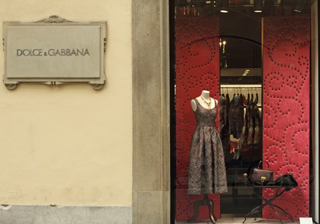 FLORENCE - SEP. 3 : Dolce & Gabbana boutique in Florence on Tornabuoni street on September, 3, 2014.Dolce & Gabbana - italian luxury fashion house which costumes wearing Victoria Beckham, Madonna.