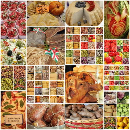 mediterranean culture: images with food on italian market - collage
