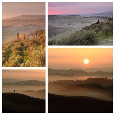 sunrise images collage - Tuscany, Italy photo