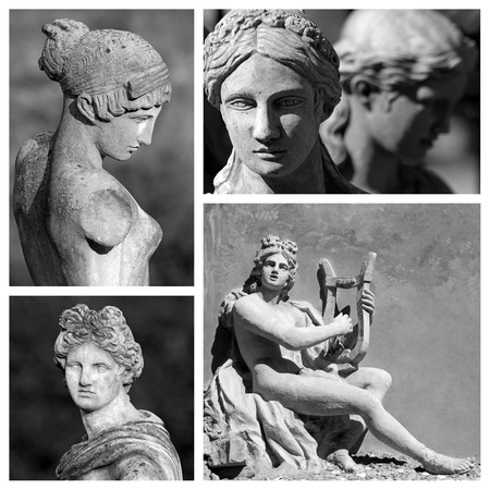 apollo: classic sculptures collage, Florence, Italy