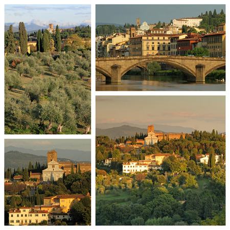 group of images with florentine hills and basilica of San Miniato al Monte in Florence, Tuscany, Italy photo