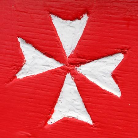 ensign: Civil ensign of Malta - detail from colorful maltese boat