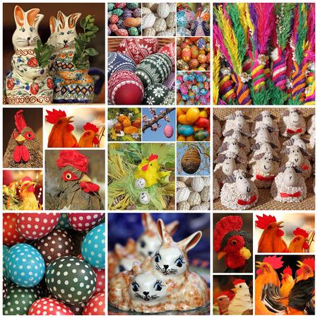 gallina con huevos: Pascua de lona Foto de archivo