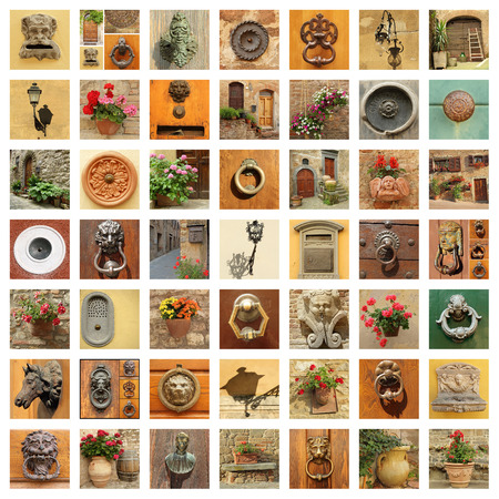 door handles: stylish retro front door details collage, Italy Stock Photo