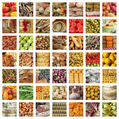 quality italian food collection - group of images from fresh tuscan daily market Stock Photo