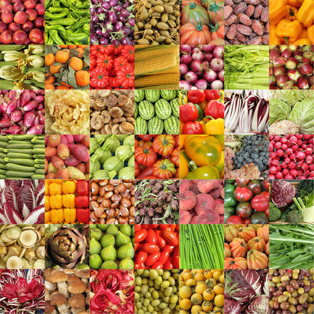 vegetables and fruits collage Stock Photo