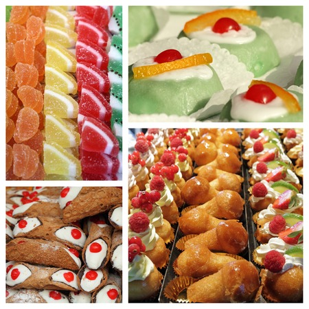 rum baba: italian pastry shop window collage