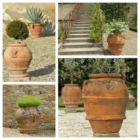 greek pot: collezione belle fioriere giardino classico - immagini provenienti da Toscana, Europa Archivio Fotografico