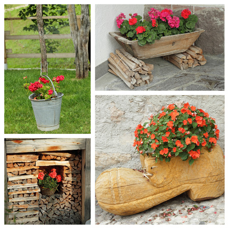 planters: rustic planters with flowers - group of images Stock Photo