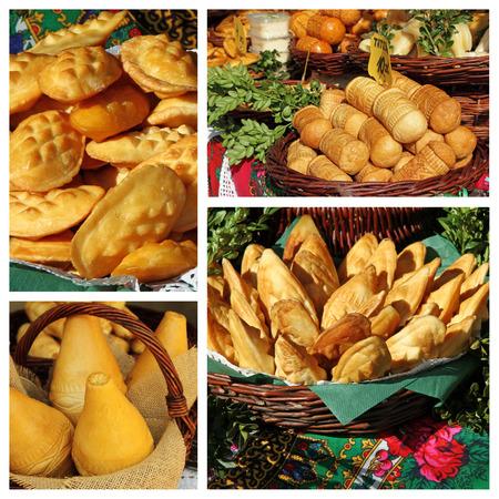 oscypek: oscypek collage - smoked cheese made of salted sheep milk  in the Tatra Mountains region of Poland. Stock Photo