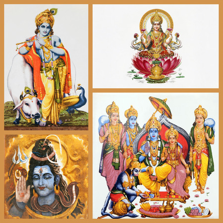 krishna: hindu gods on cerasmic tiles - composition