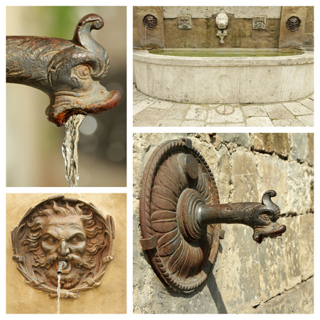 water sources: antique water sources collection, images from Italy Stock Photo