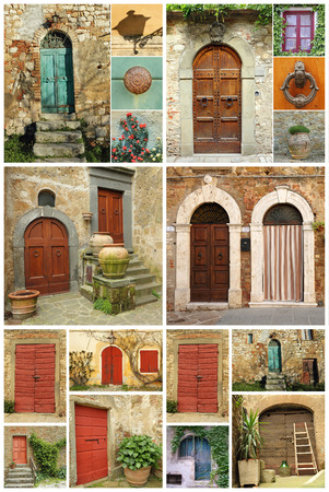 beautiful abstract tuscan house made of various images with old fashion colorful doors and vintage details, Toscana,Italy , Europe photo
