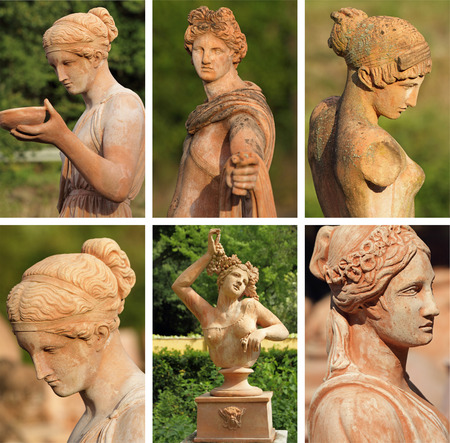 group of images with elegant classic garden sculptures in terracotta, Italy,  Europe