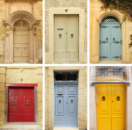 elegant old doors collection , images from Malta and Gozo islands, Europe photo