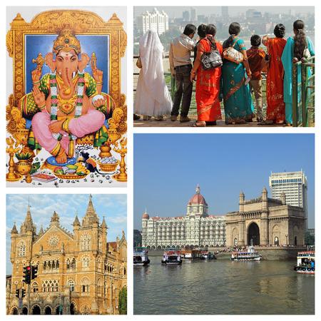 colorful Mumbai landmarks collection photo