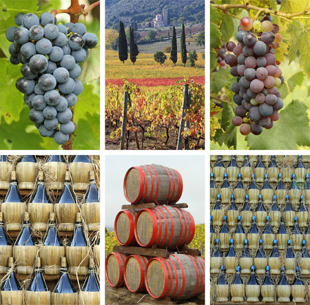 antimo: fantastic tuscan winery collage, Italy, Europe Stock Photo