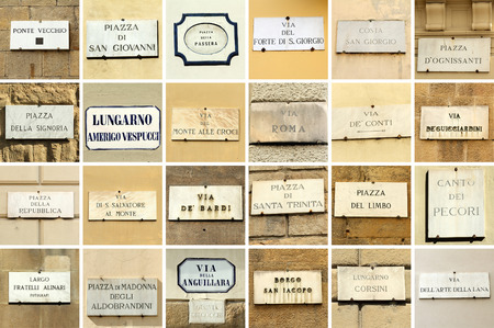 names: images with florentine street names - collage, Florence, Italy