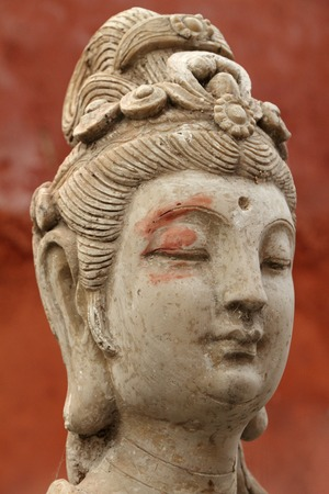 antique asian: head of an antique asian beauty - ancient statue detail, Beijing Stock Photo