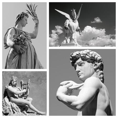 mythological: group of mythological statues of  : Demeter, Pegasus, Apollo and David,  Firenze,Italy  Europe