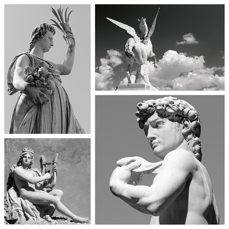 group of mythological statues of  : Demeter, Pegasus, Apollo and David,  Firenze,Italy  Europe