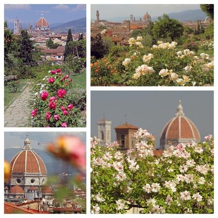 giardino: Garden of Roses ( Giardino delle rose) images collage, Florence