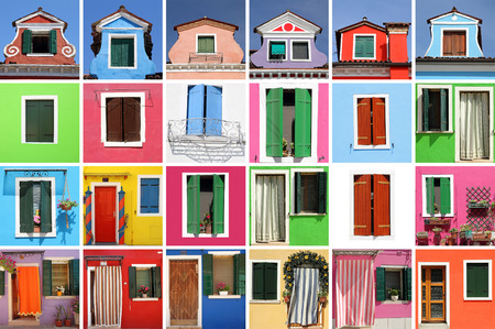 many doors: abstract colorful house made of many images with windows and doors, Burano, Venice, Italy,Europe Stock Photo