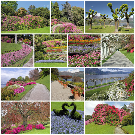 lake como: romantic, colorful flowering garden in spring time - images from fantastic parks on lake Como, Lombardy, Italy, Europe Stock Photo