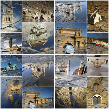 Florence art collage made of landmarks mirrored in the puddles, Italy photo