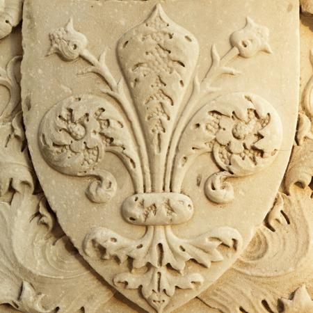 fleur de lis of Florence - close up of  the marble renaissance decor