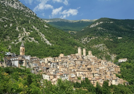 paternal: beautiful medieval small town Pacentro in Abruzzo, Italy, Europe -  known for being the village of origin of Gaetano Ciccone and Michelina Di Iulio, the paternal grandparents of the Madonna singer Stock Photo