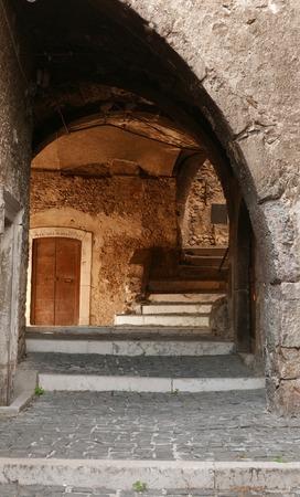 abruzzo: antique archway in Castel del Monte village in Abruzzo region of Italy, Europe