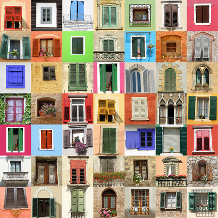 urban culture: picturesque old fashion windows collage,Italy,Europe Stock Photo