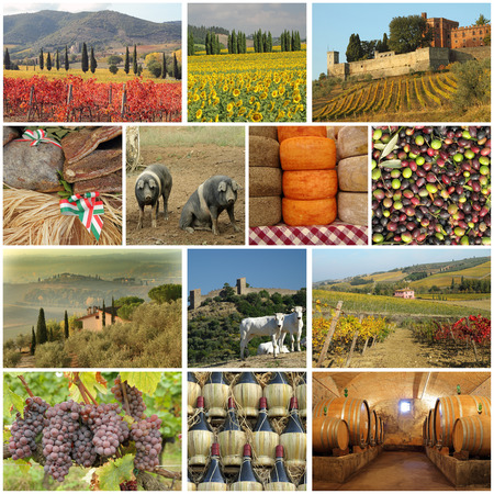 tuscan food industry collage Stock Photo