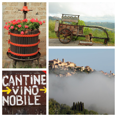 italian village: Group of images from Montepulciano - tuscan city famous for his winemaking