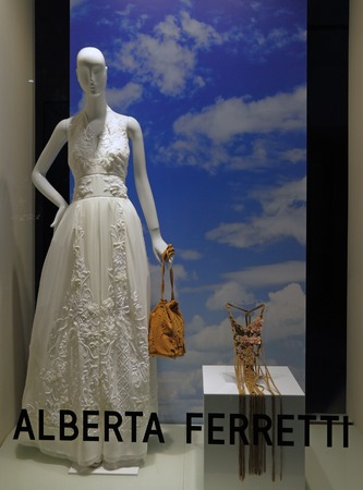 manequin: FLORENCE, ITALY - MAY 21 :Alberta Ferretti boutique in Florence on  luxury Tornabuoni street on May, 21,2015.Ferretti is known for her designs featuring twisting, tucking, and draping techniques
