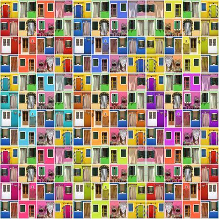 抽象的な家 - ドアの多くのカラフルなイメージのフォト モンタージュ
