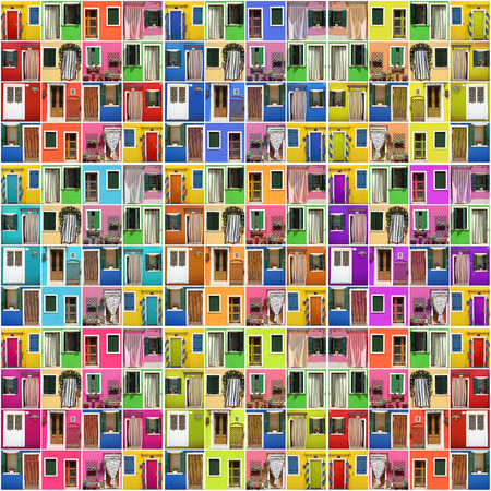 photo montage: abstract house - photo montage of many colorful images with doors