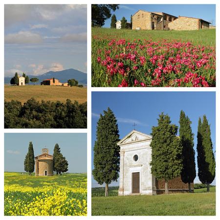 valdorcia: church  Madonna di Vitaleta in fantastic tuscan countryside of  Valdorcia,