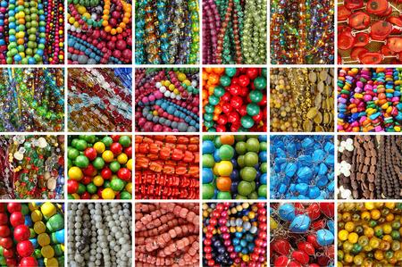 bijou: assortment of beads bijou - collage Stock Photo