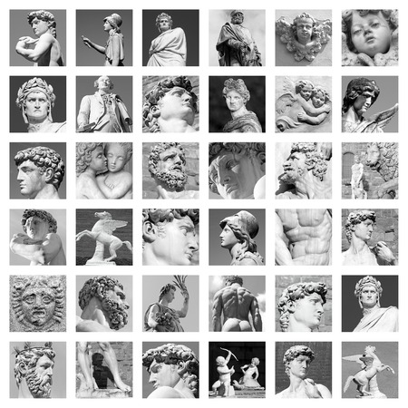 italy background: collage sculptures Stock Photo