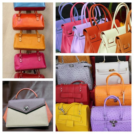 articles: colorful fine  leather handbags collection Stock Photo