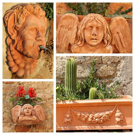 decorative objects: closeup of ceramic decorative objects in italian gardens