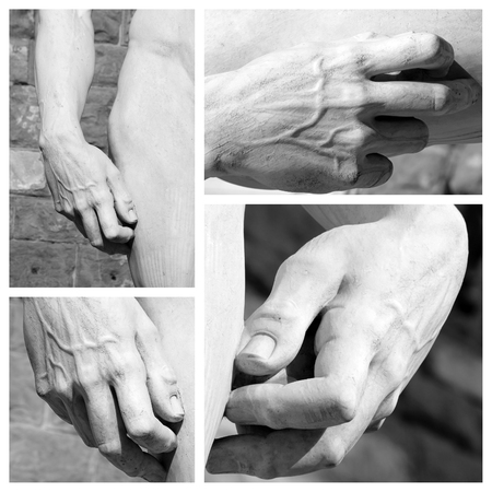 marbles close up: hand and hip - details of Michelangelo David , Firenze Stock Photo