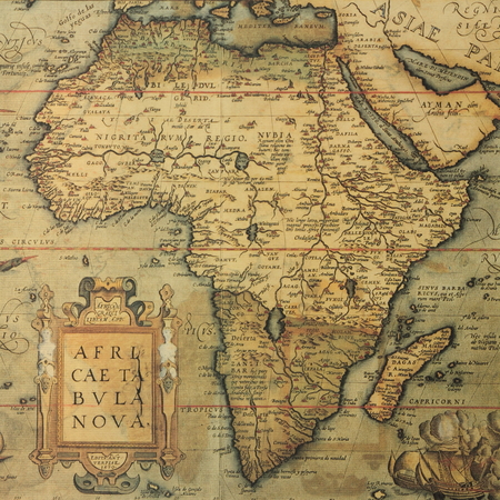 africa antique: Reproduction of 16th century map of Africa engraved and colored by the famous dutch cartographer Abraham Ortelius