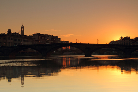 dawning: dawning on river Arno in Firenze town Stock Photo