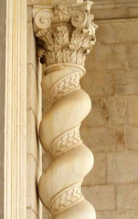 architectural architectonic: closeup of column - part of Pantheon building in Lisbon, Portugal, Europe