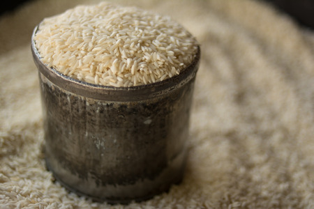 rice in silver bowl in the rice shop